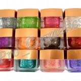 Set 12 Geluri UV color cu sclipici EzFlow, gel uv color unghii la promotie ! - Gel unghii