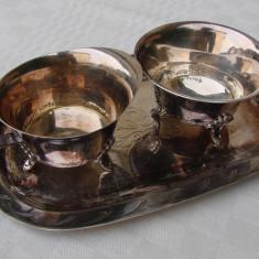 Argint, Ornamentale - Tava cu letiera si zaharnita din alpacca