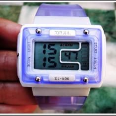 Ceas dama, Diametru carcasa: 43, Alarma, Inox, Plastic, Quartz - AuX: CEAS de mana XINJIA pentru fete cu afisaj digital si functii multiple si complexe - alarma, bip la ore fixe, cronometru, zilele, etc. functional!