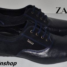 Pantofi barbati Zara, Piele naturala - Pantofi Casual ZARA - 100% Piele Naturala cu Piele Intoarsa - Bleumarin / Negru