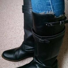 Cizme negre Zara piele naturala 36 - Cizme dama Zara, Culoare: Negru