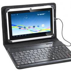 Husa tableta cu tastatura - Husa cu tastatura Tracer microUSB SmartFit neagra 7 - 8 inch