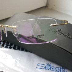 Rama de vedere silhouette, rama silhouette, rama titan, rama flexibila - Rama ochelari Silhouette, Unisex, Colorate, Dreptunghiulare, Fara rama