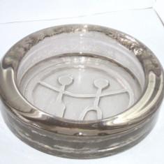 Scrumiera cristal fumee, turnata manual, anii 60 - design John Kall, Elme Suedia - Scrumiera sticla