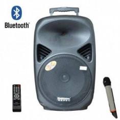 SISTEM BOXA ACTIVA CU MIXER SI MP3 INCLUS, MICROFON WIRELESS, TELECOMANDA.