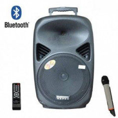 SISTEM BOXA ACTIVA CU MIXER SI MP3 INCLUS, MICROFON WIRELESS, TELECOMANDA.
