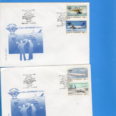 FDC ROMANIA 1994 50 ANI ORG. INT. A AVIATIEI CIVILE AVIATIE 2 PLICURI, Europa