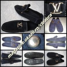 Pantofi barbati Louis Vuitton, Piele intoarsa - MOCASINI PIELE BLEUMARIN BARBATI GEN FIRMA LOUIS VUITTON PANTOFI SPORT ELEGANTI