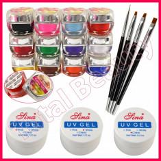 Kit unghii false cu geluri colorate UV gel de constructie pensule manichiura