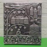 Metal/Fonta - PLACA DECORATIVA din aluminiu turnat, basorelief in stil medieval