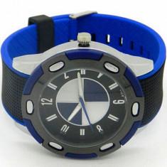 Ceas barbatesc - Ceas model logo BMW curea silicon soft albastru inchis + cutie cadou