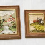 Tapiterie Goblen - Lot de doua goblenuri miniaturi peisaje