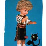Carte Postala / vedere romaneasca anii '80, cu papusa Aradeanca si pisica neagra