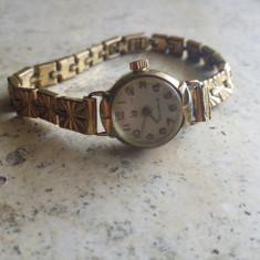 Ceas dama, Placat cu aur, Placat cu aur, Mecanic-Manual, Elegant, Analog - Ceas de dama Lip Dauphine placat cu aur