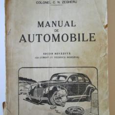 MANUAL DE AUTOMOBILE TIPOGRAFIA SCOALA OFITERI ARTILERIE PITESTI 1943 - Carti auto
