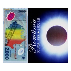 2000 lei 1999 SERII CONSECUTIVE eclipsa in pliant BNR s.001A, UNC, NECIRCULATE, An: 1999