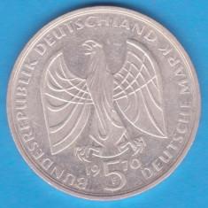 (2) MONEDA DIN ARGINT GERMANIA - 5 MARK 1970, LIT. F, LUDWIG VAN BEETHOVEN, Europa, An: 1970