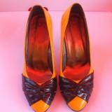 PANTOFI DAMA, GALBEN CU NEGRU, MARIMEA 35 - Pantof dama