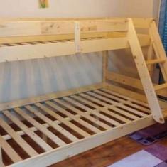 Pat dormitor, Dublu, Pat colt - PAT SUPRAETAJAT DIN LEMN MASIV DE MOLID 90/140x200cm