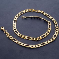 Lant masiv 9K GOLD FILLED UNISEX - Figaro - 450*6mm - Colier placate cu aur