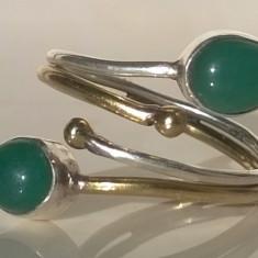 Inel argint 925 cu Onix Verde - mărime reglabilă