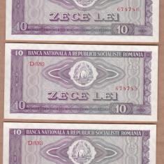Bancnote Romanesti - Romania - 10 Lei 1966 UNC - 3 Buc. Serii consecutive