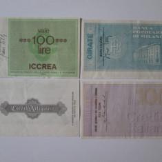 4 BILETE BANCARE/CECURI EMISE DE BANCILE ITALIENE DIN TOSCANA SI MILANO 1976/77 - Cambie si Cec