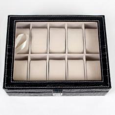 Cutie ceasuri 10 locuri piele ecologica accesoriu lux colectionari