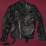 Geaca de piele motor/biker/rocker, marimea M - Geaca barbati, Marime: M, Culoare: Negru