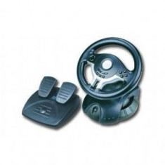Accesoriu Aparat Foto - Volan cu pedale GEMBIRD (STR-RACEFORCE), 10 butoane (4 de schimbare directie), cu fir USB, vibratii, rotatii 180grade, Negru