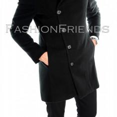 Palton tip ZARA negru - palton barbati - palton slim fit - cod 5748