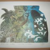 Tablou, Abstract, Cerneala, Abstract - GRAVURA TEODOR HRIB- COMPOZITIE CU PAPAGAL