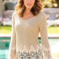 Bluza dama - BL559-14 Bluza eleganta accesorizata cu dantela florala