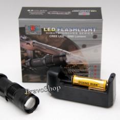 Lanterna de vanatoare - LED CREE Q5 5000 Lumeni - Zoom si acumulator Li-Ion 1200 mAh