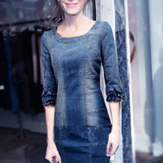 Y436-444 Rochie casual din imitatie blugi, cu maneci treisfert - Rochie de club, Marime: M