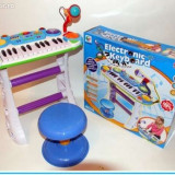 Orga cu scaunel si microfon functional - O jucarie pentru fetite si baieti