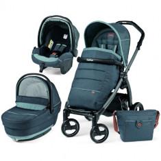 Carucior 3 in 1 Book Plus S Black Completo SL Blue Denim - Carucior copii 2 in 1 Peg Perego