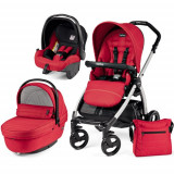 Carucior 3 in 1 Book Plus Black Silver Sportivo SL Red - Carucior copii 2 in 1 Peg Perego