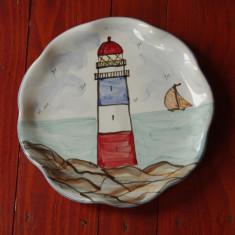 Farfurie - Platou din ceramica pictata manual de artistul Jan Pugh - semnata de autor - peisaj marin !!! - Arta Ceramica