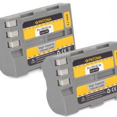 Baterie Aparat foto - A PATONA | 2 Acumulatori compatibili Nikon EN-EL3e ENEL3e D50 D70s D80 D100 D200
