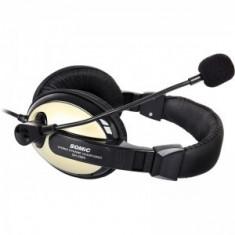 Casti SOMIC SH-2688 GOLD microfon omnidirectional, 2x jack TRS 3.5mm. NOI. - Casti PC, Casti cu microfon, Analog