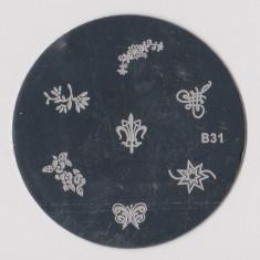 Unghii cu modele - Matrita metalica pt modele unghii, pt stampila, disc matrita metal, model B31