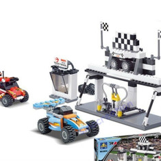 JOC CONSTRUCTIE tip LEGO 246 piese. STATIE + MASINI CURSE cu Pull Back inclus . Kazi Toys. Produs SIGILAT - Jocuri Seturi constructie