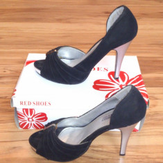 Pantofi cu toc inalt si platforma - Pantofi dama, Piele intoarsa
