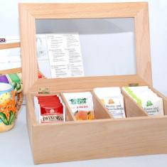 Cutie din lemn de fag pentru pastrarea pliculetelor de ceai