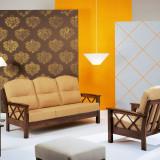 Set canapea fixa 3 locuri + 2 fotolii din lemn masiv, Canapele fixe, Din stofa