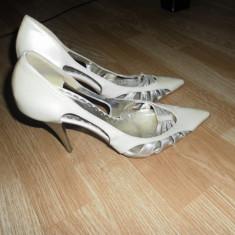 Pantofi mireasa - Pantofi dama, Marime: 39, Culoare: Bej, Piele naturala