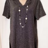 Bluza dama, Maneca scurta - Bluza neagra cu fir argintiu, de ocazie, marimea XL