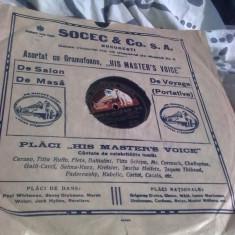 Colectii - Placa gramofon, stare perfecta, reclama Socec Bucuresti, PROMOTIE!