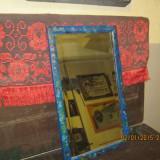 Mobilier - VINTAGE-obiect traditional TRANSILVANIA rustic-Oglinda fasetata, rama pictata, spate din scandura